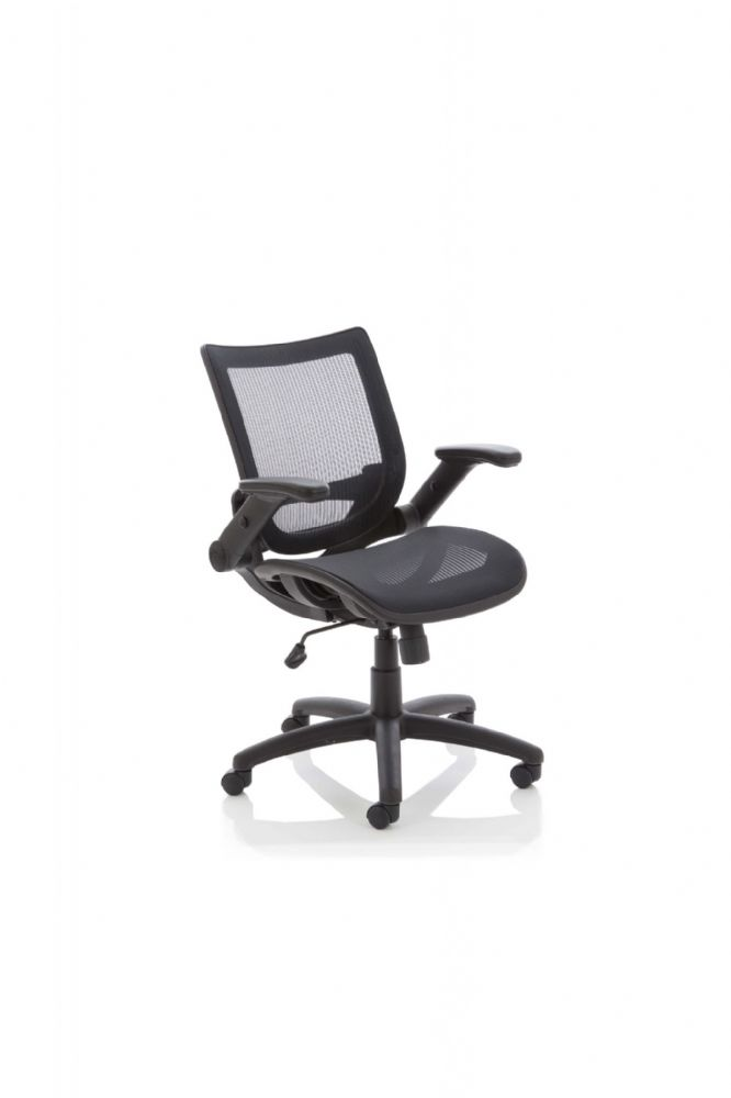 Fuller Medium Back Task Chair Operator Weight Tension Adj Mesh Fabric Height Adj and Folding Arms